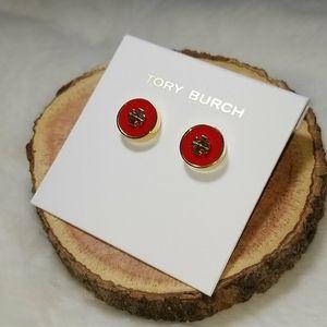 Tory Burch red enamel stud earrings